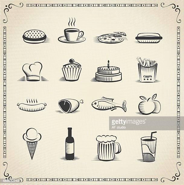 Food vintage icon set