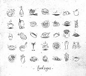 Food vintage icons