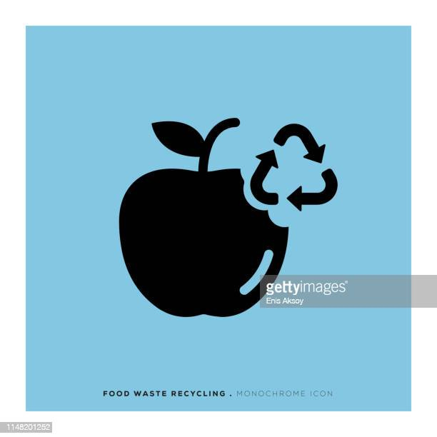 Food Waste Recycling Monochrome Icon