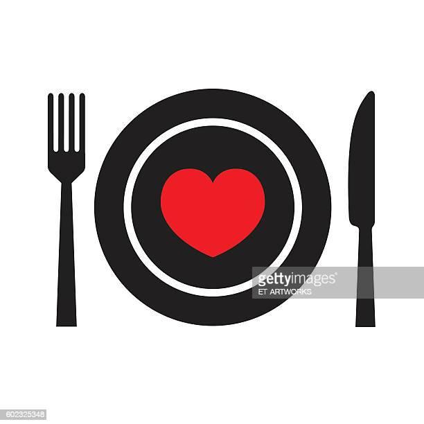 ilustrações de stock, clip art, desenhos animados e ícones de food with love - talheres