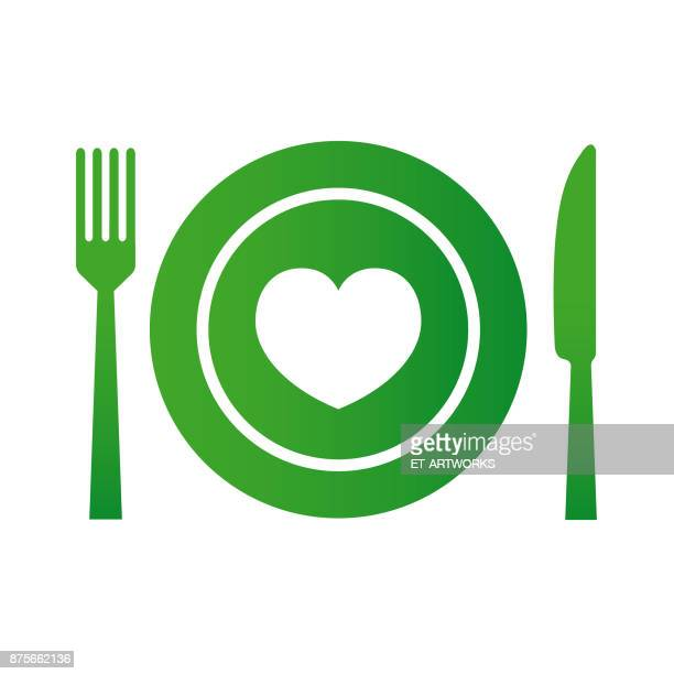 food with love - vector - heart symbol stock illustrations