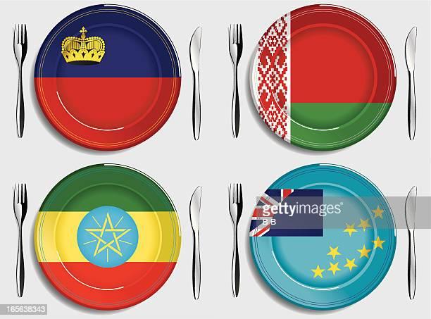 food-liechtenstein-belarus-ethiopia-tuvalu - ethiopia stock illustrations, clip art, cartoons, & icons
