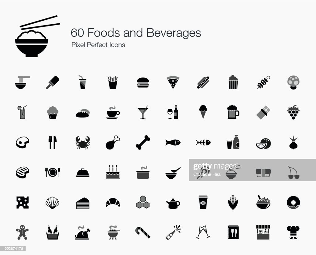 60 Foods and Beverages Pixel Perfect Icons