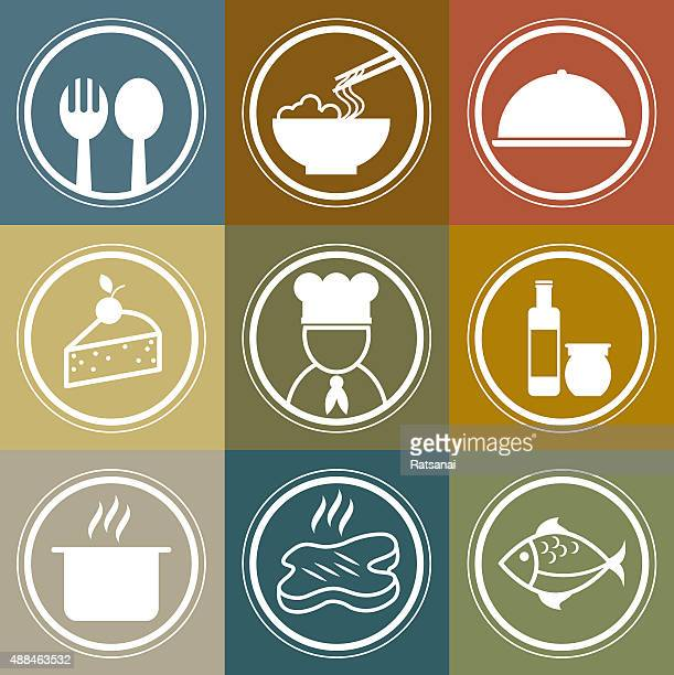 foods icon set - music style stock illustrations, clip art, cartoons, & icons