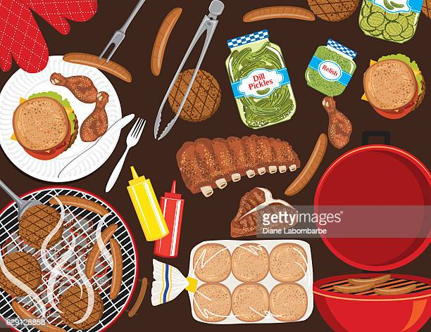 bbq foods on a brown background - ketchup stock illustrations, clip art, cartoons, & icons
