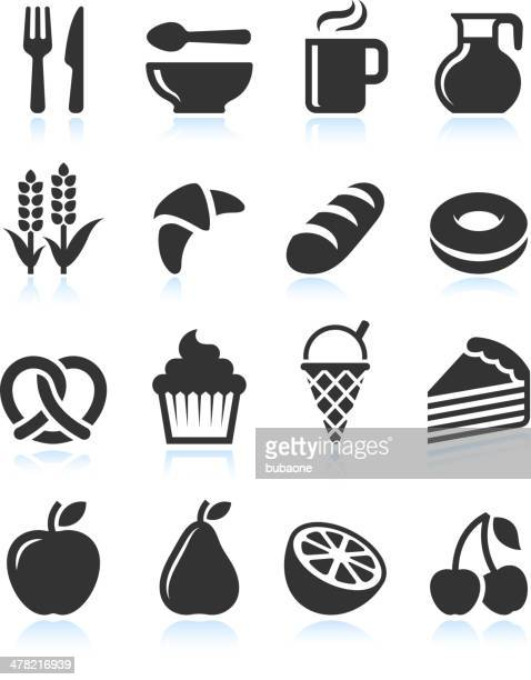 foods with black and white royalty free vector icon set - pretzel stock illustrations, clip art, cartoons, & icons