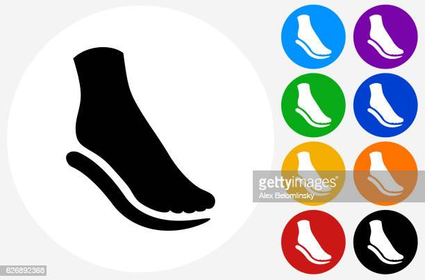 Foot and Padding Icon on Flat Color Circle Buttons