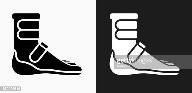 Voet Cast Boot pictogram op zwart-wit Vector achtergronden