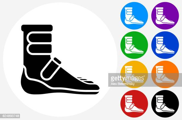 Foot Cast Boot Icon on Flat Color Circle Buttons