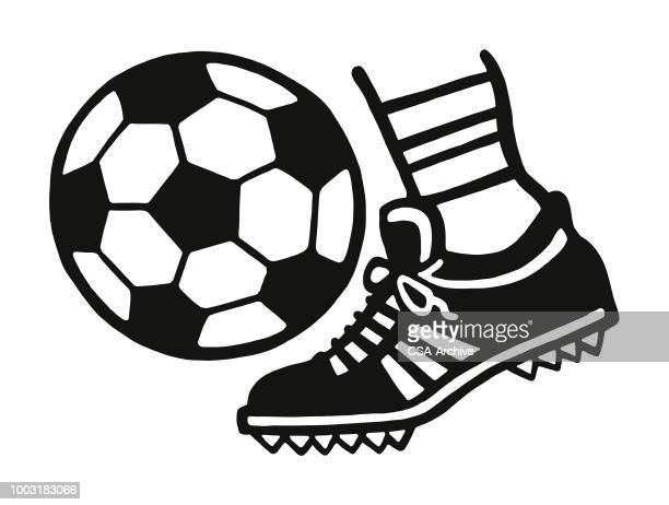 foot kicking a soccer ball - match sport stock illustrations, clip art, cartoons, & icons