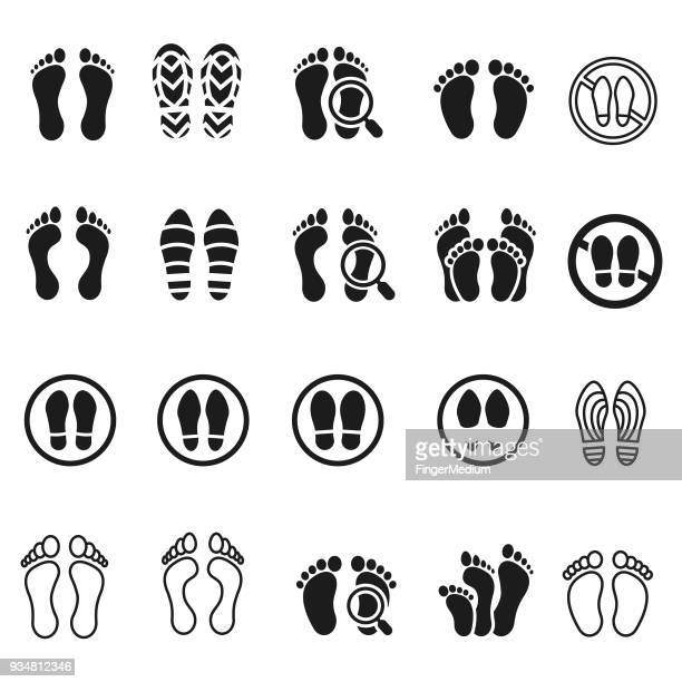 foot print icon set - foot stock illustrations, clip art, cartoons, & icons