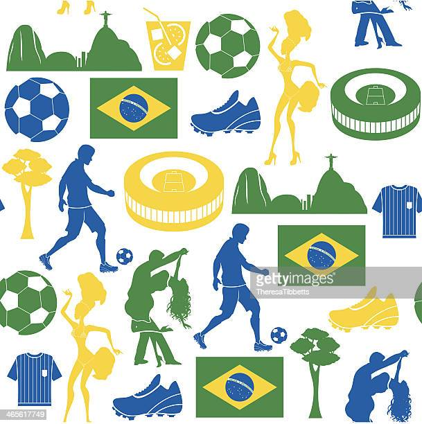 Football and Brazil Repeat Pattern