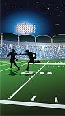 Football Background - Players Under Stadium Lights