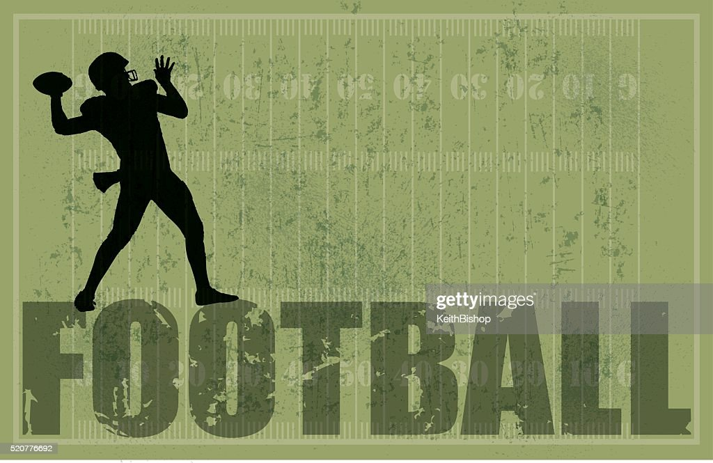Football Background, QB Passing, Grunge