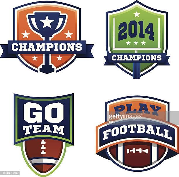 football badges - drive ball sports stock illustrations, clip art, cartoons, & icons