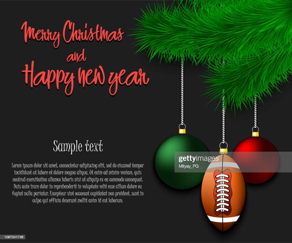 Football ball hanging on a Christmas tree branch