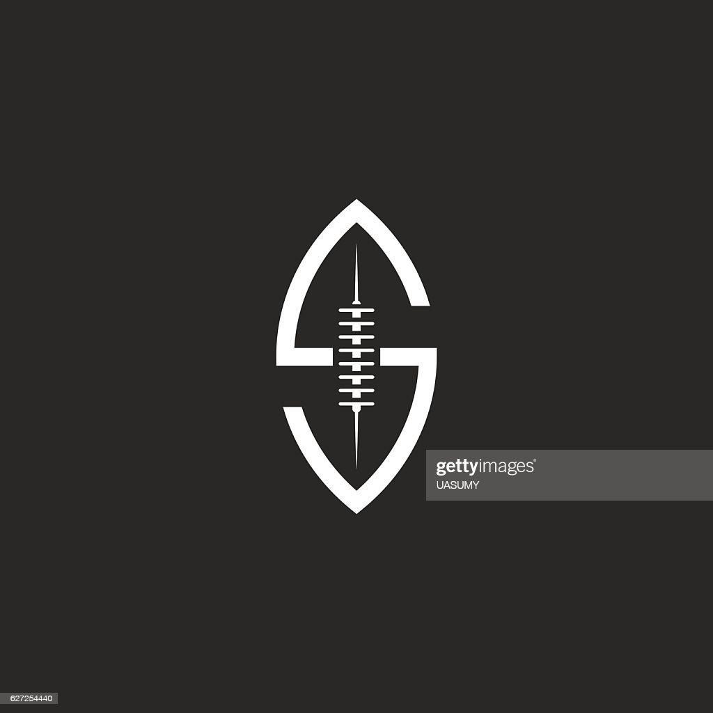 Football ball logo S letter, idea rugby sport team emblem