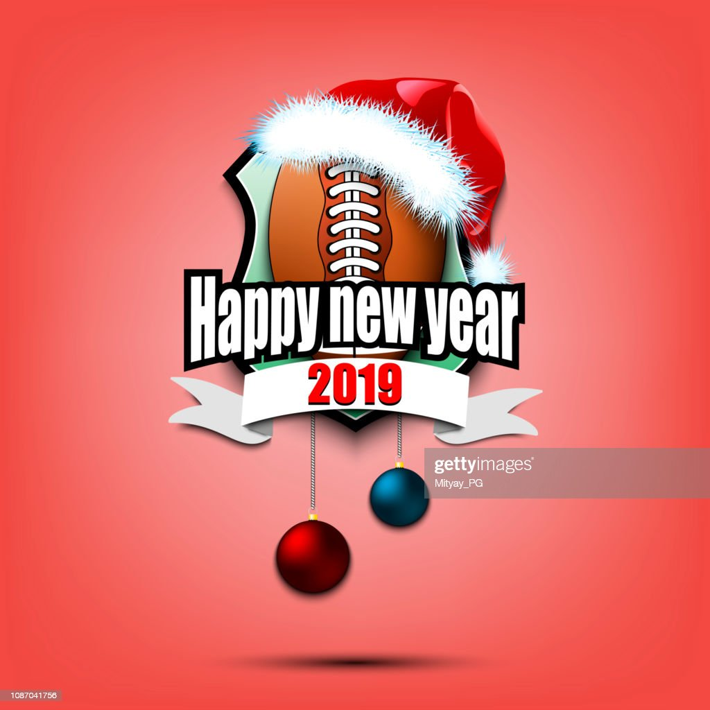 Football ball with santa hat and happy new year