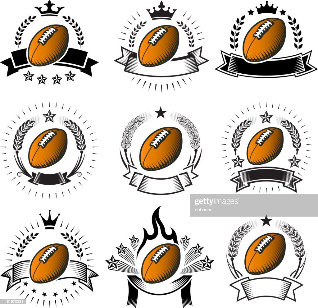 Football Ballblack & white royalty free vector badges with banners