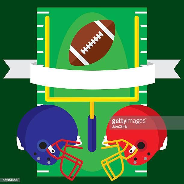フットボールバナーフラット - ゴールポスト点のイラスト素材/クリップアート素材/マンガ素材/アイコン素材