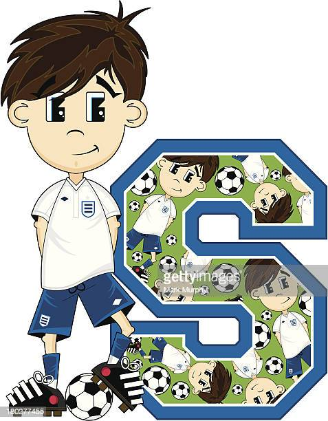 Football Boy Patterned Learning Letter S