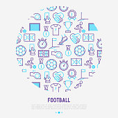 Football concept in circle with thin line icons: player, whistle, soccer, goal, strategy, stopwatch, football boots, score. Vector illustration for banner, print media, web page.