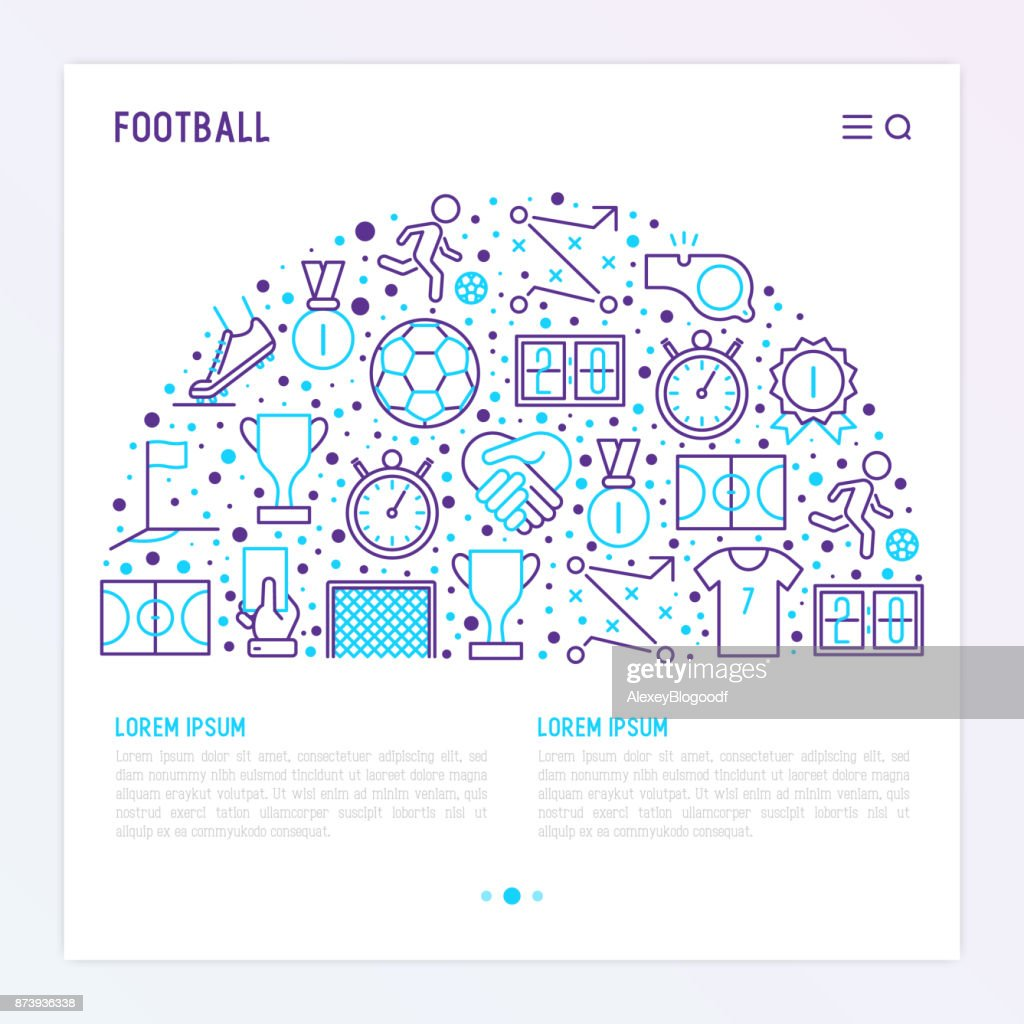 Football concept in half circle with thin line icons: player, whistle, soccer, goal, strategy, stopwatch, football boots, score. Vector illustration for banner, print media, web page.