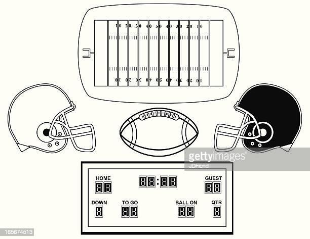 フットボールデザイン要素(白黒) - アメリカンフットボールのフィールドゴール点のイラスト素材/クリップアート素材/マンガ素材/アイコン素材