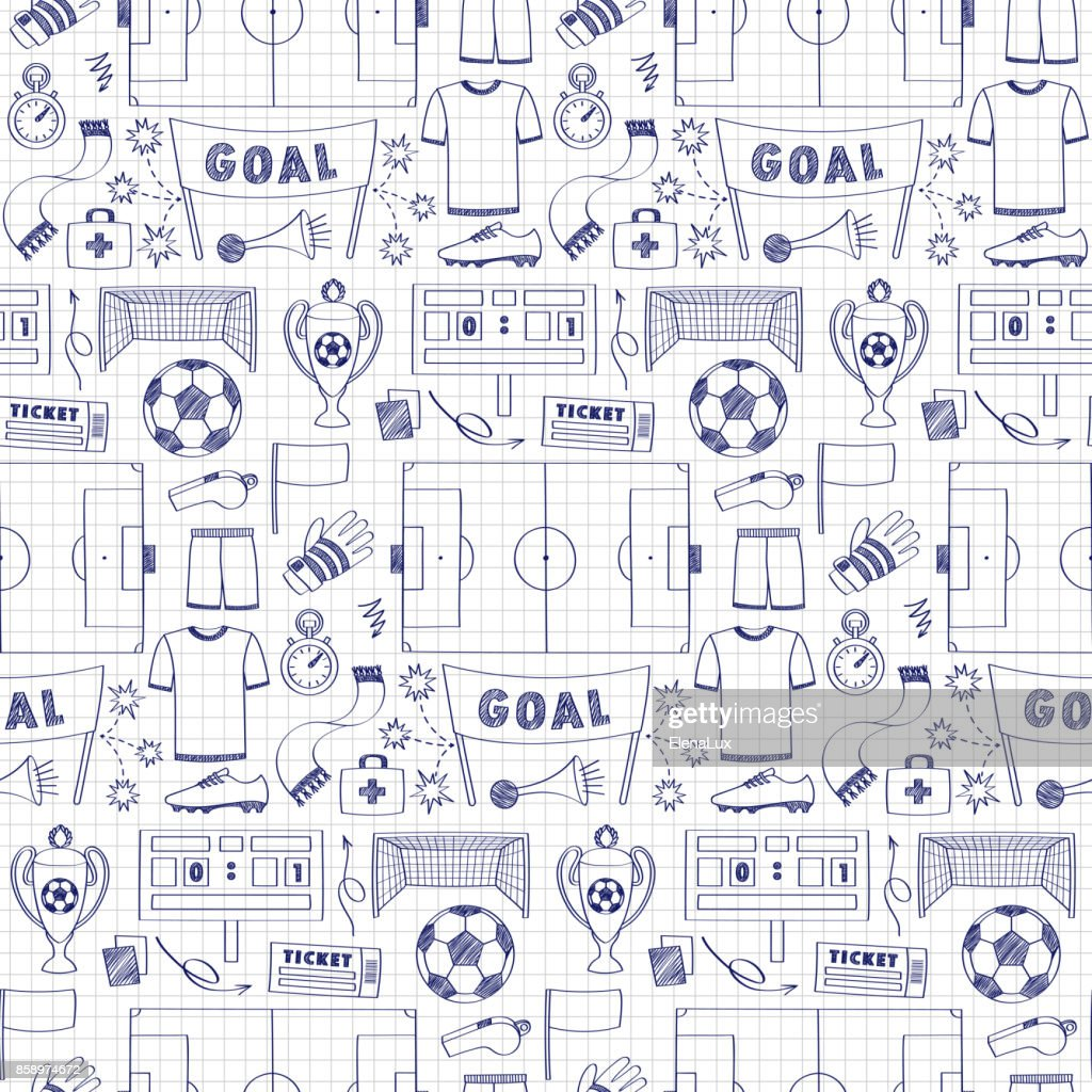 Football Dodle Seamless Pattern