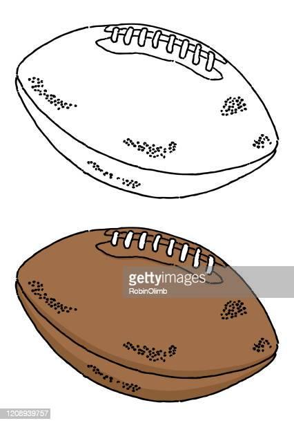football doodle illustration - american football ball stock illustrations