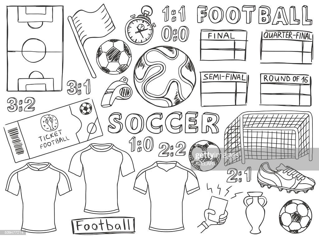 Football doodles set soccer sketch