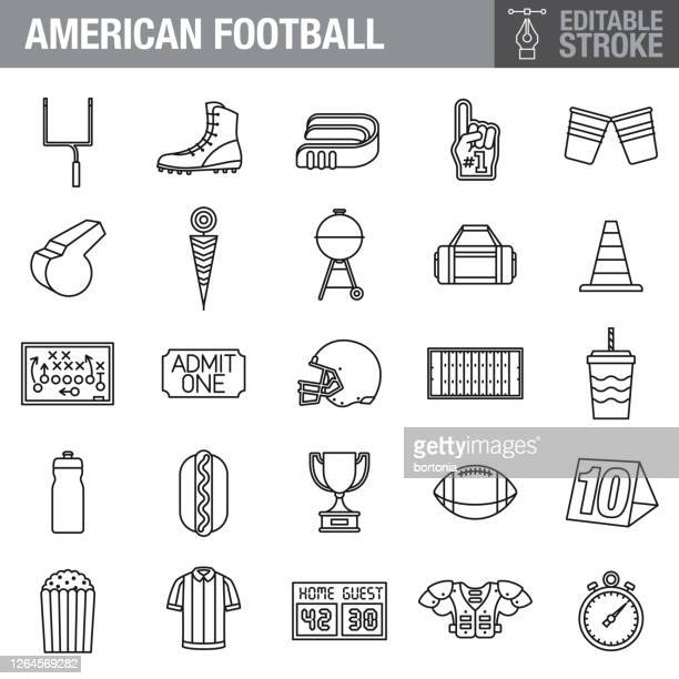 football editable stroke icon set - american football ball stock illustrations