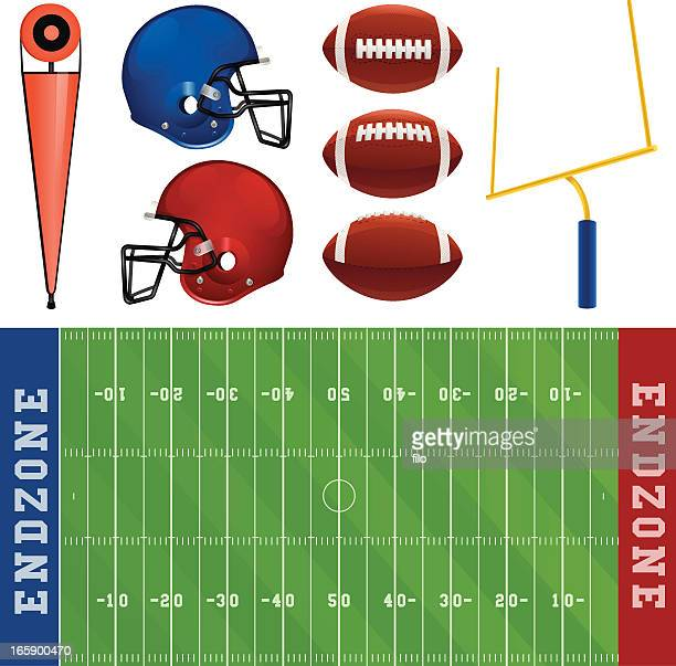 football elements - football field stock illustrations, clip art, cartoons, & icons