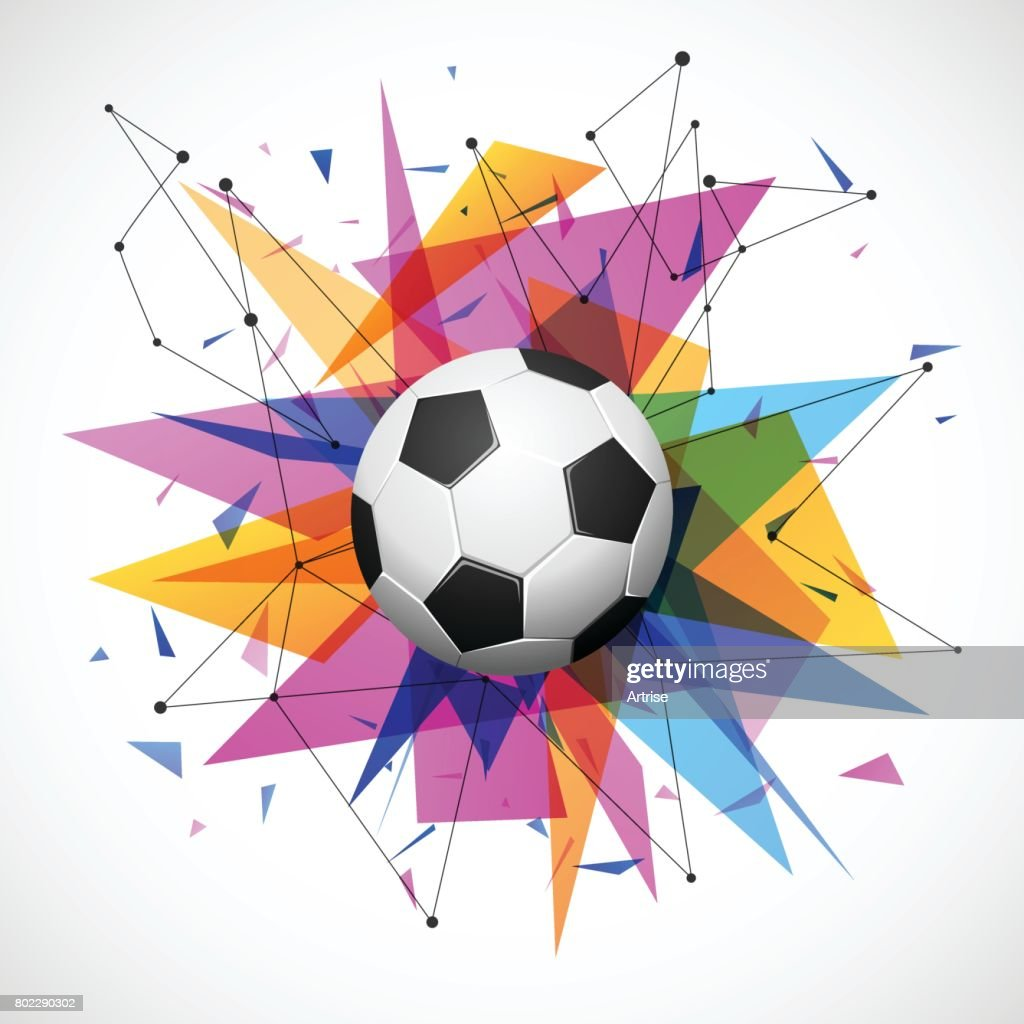 Football emblem template. Soccer ball with colorful geometric triangle shapes, modern abstract paper explosion