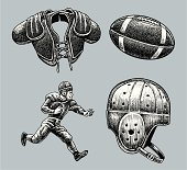 Football Equipment, Player, Shoulder Pads and Helmet - Retro