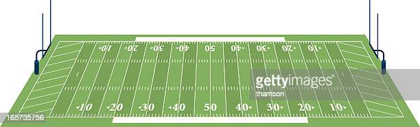 football field 3d - football field stock illustrations, clip art, cartoons, & icons