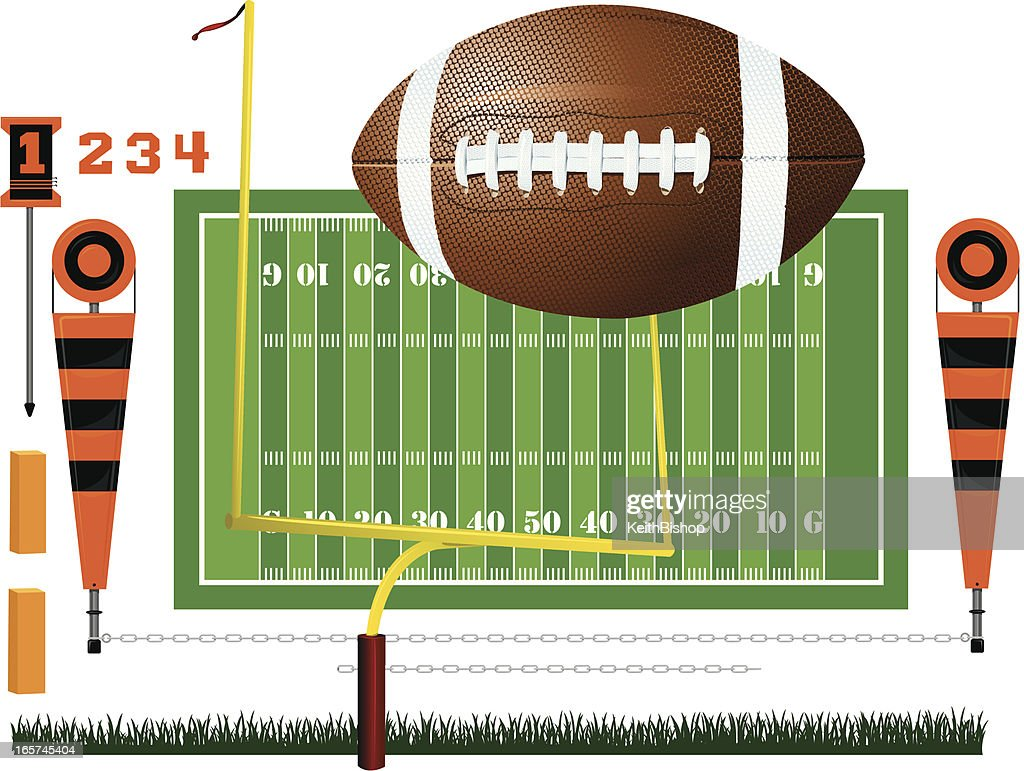 Football - Field, Ball, Goal Post and Yard Markers