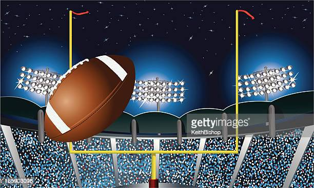 Football Field Goal Under Stadium Lights Background