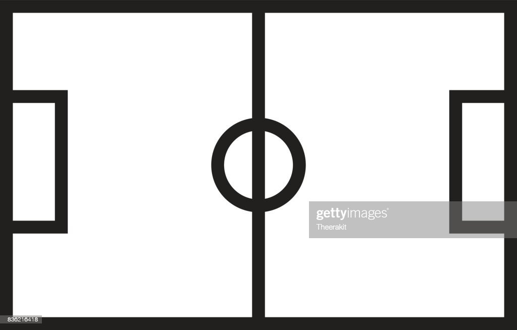 football field on white background. football field sign.