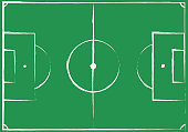 football field plan, uneven hand drawn on green grass background, top view. esp 10 vector illustration.