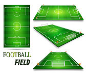 Football field, soccer field set. Perspective vector illustration. EPS 10. Room for copy