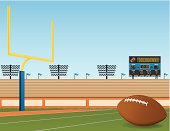 A football field with a touchdown screen