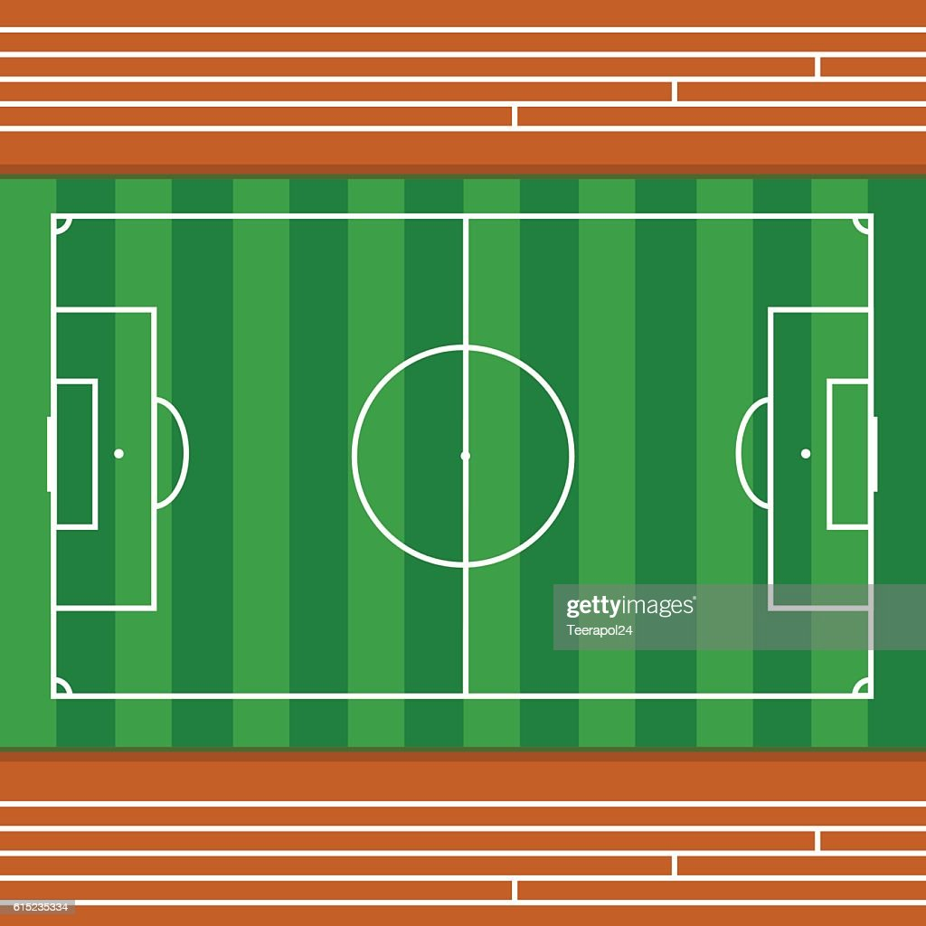 Football field with race track , Top view -vector illustration