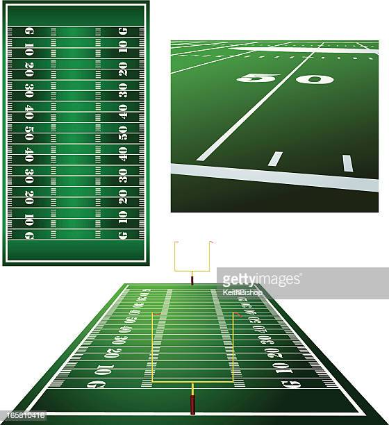 Football Fields, Goal Posts and Fifty Yard Line Background