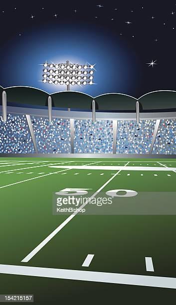 ilustraciones, imágenes clip art, dibujos animados e iconos de stock de línea de las 50 yardas fondo de fútbol - gradas