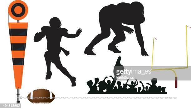 アメリカンフットボールクォーターバックに、まず、防衛、目標ポスト、ファン - ゴールポスト点のイラスト素材/クリップアート素材/マンガ素材/アイコン素材