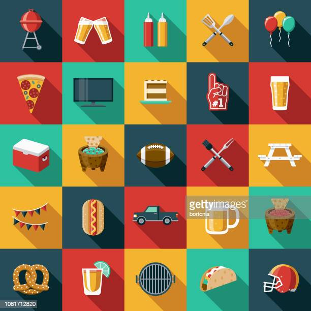 football flat design icon set - party stock illustrations