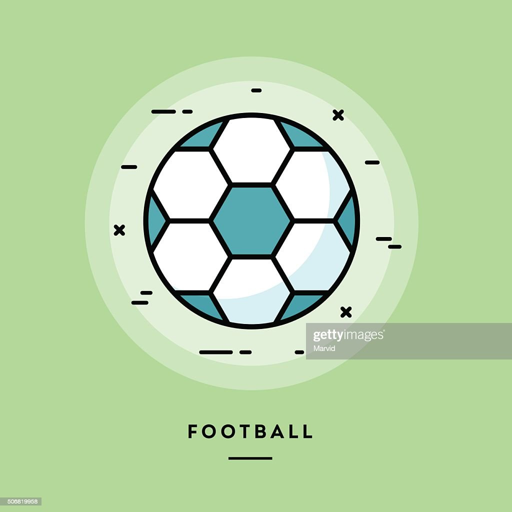 Football, flat design thin line banner