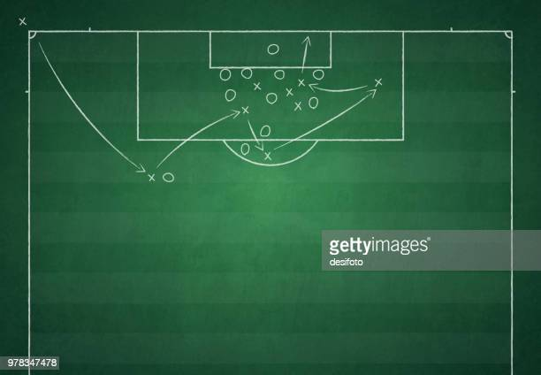 football ground / field vector illustration of game plan - football field stock illustrations, clip art, cartoons, & icons