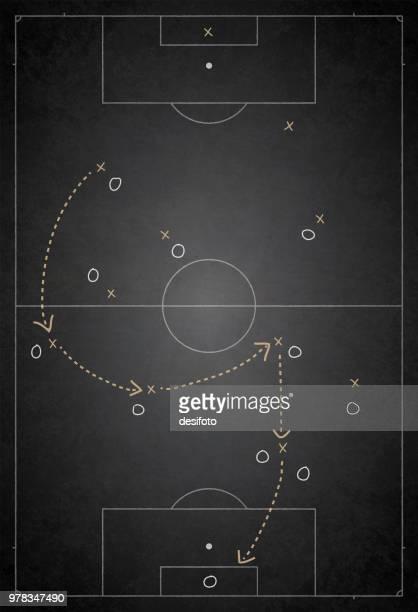 ilustraciones, imágenes clip art, dibujos animados e iconos de stock de campo de fútbol / campo vector ilustración del plan de juego - marcar términos deportivos